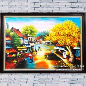 Hình anh hàng quán vỉa hè bức tranh sơn dầu phố cổ TSD 417