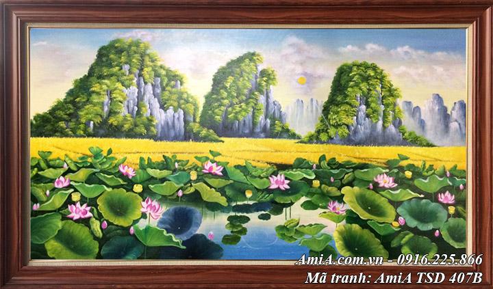 Hình ảnh tranh sơn dầu khổ lớn phong cảnh đầm sen TSD 407B