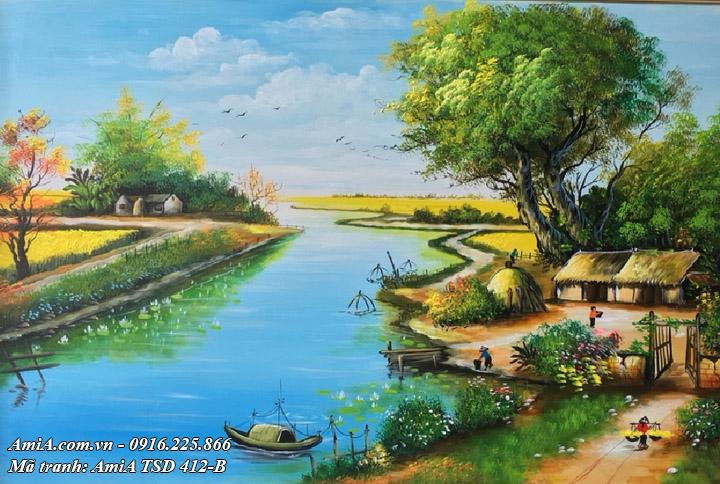 Hình ảnh tranh cảnh đẹp ở nông thôn vẽ sơn dầu TSD 412B