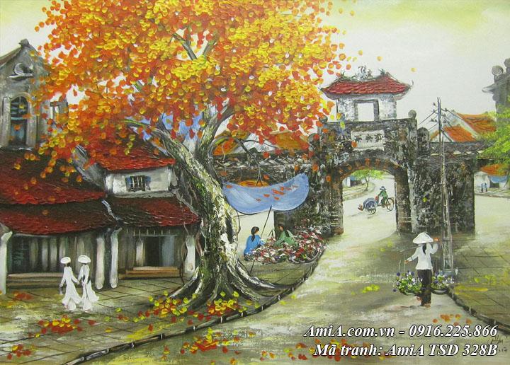 Hình ảnh tranh ô quan chưởng phong cảnh mùa Thu phố cổ vẽ sơn dầu TSD 328B