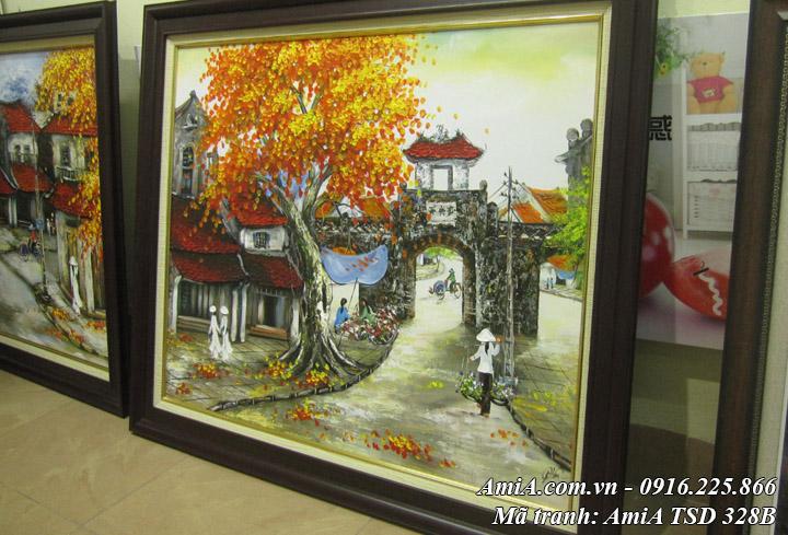 Hình ảnh tranh sơn dầu khổ nhỏ ô quan chưởng tại cửa hàng tranh amia