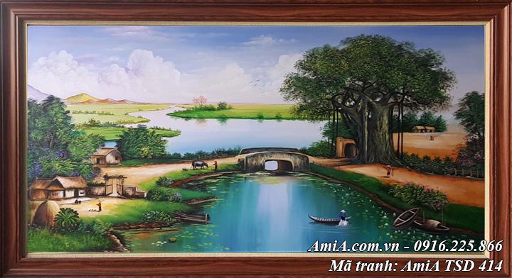 Hình ảnh tranh phong cảnh làng quê nông thôn cảnh sinh hoạt khổ lớn TSD 414