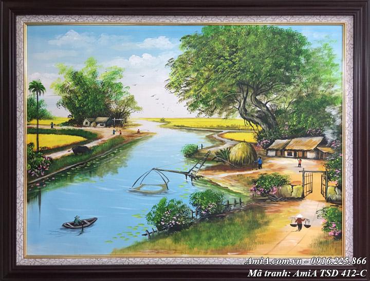 Hình ảnh tranh nông thôn cảnh sinh hoạt mã sơn dầu TSD 412C