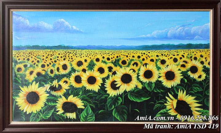 Hình ảnh tranh sơn dầu phong cảnh hoa hướng dương TSD 419