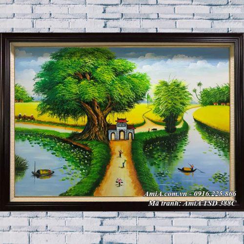 Hình ảnh tranh sơn dầu phong cảnh khổ nhỏ làng quê TSD 388C