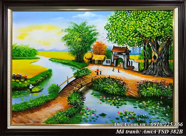 Hinfh ảnh làng quê khổ nhỏ TSD 382B phong cảnh sơn dầu