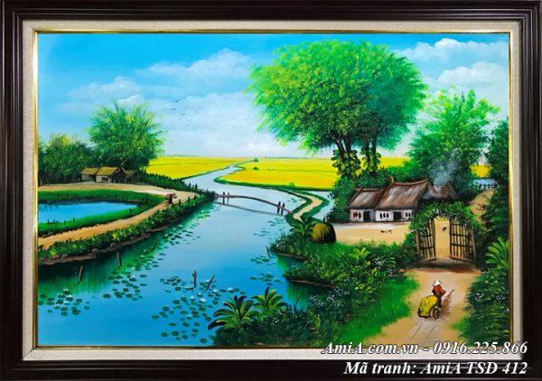 Hình ảnh tranh phong cảnh sơn dầu nhà nhỏ bên sông quê TSD 412