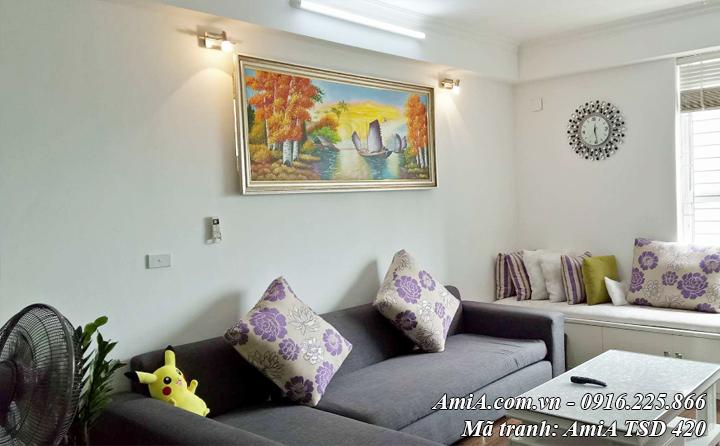 Hình ảnh tranh sơn dầu thuyền buồm vẽ theo yêu cầu treo nhà khách AmiA
