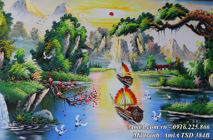 Hình ảnh tranh thuận buồm xuôi gió vẽ sơn dầu đẹp ý nghĩa tài lộc TSD 384B