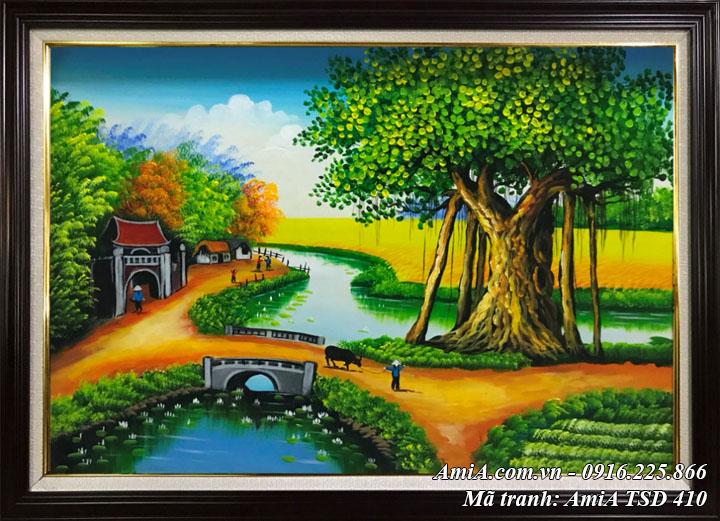 Hình ảnh tranh sơn dầu TSD 410 tranh quê hương sơn dầu khổ nhỏ