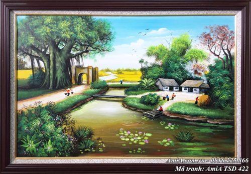 Tranh quê hương yên bình vẽ sơn dầu khổ nhỏ mã TSD 422