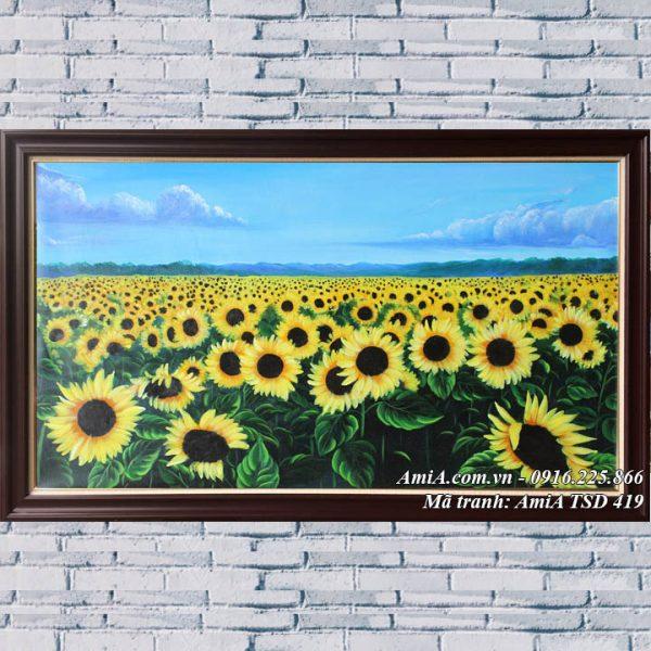 Hình ảnh tranh cánh đồng hoa hướng dương vẽ sơn dầu TSD 419