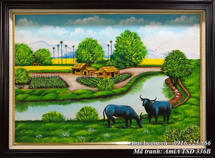 Hình ảnh tranh đồng quê sơn dầu khổ nhỏ TSD 336B