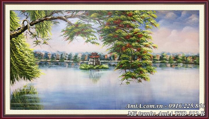 Hình ảnh tranh sơn dầu hồ gươm tháp rùa khổ lớn AmiA TSD 312B