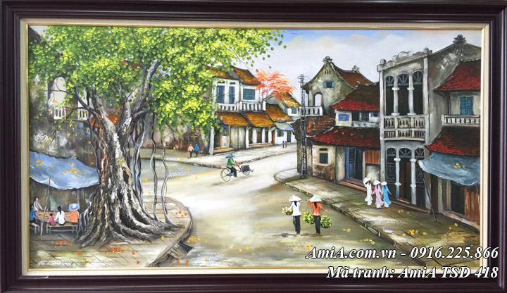 Hình ảnh tranh quán nước vỉa hè phố cổ hà nội sơn dầu tsd 418