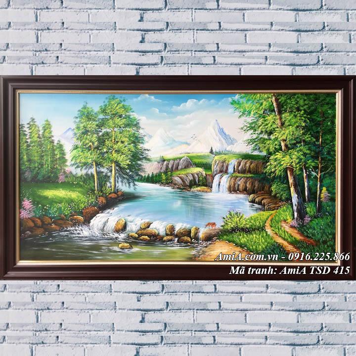 Hình ảnh tranh sơn dầu suối nước rừng cây khổ lớn TSD 415