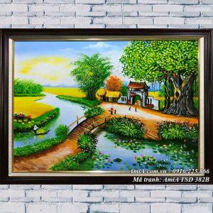 Hình ảnh tranh sơn dầu phong cảnh làng quê cây cầu bắc qua sông TSD 382B
