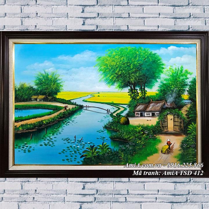 Hình ảnh tranh bên sông ngôi nhà nhỏ vẽ bằng sơn dầu TSD 412