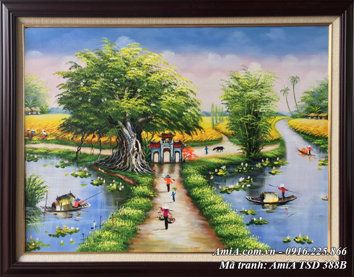 Hình ảnh tranh khổ nhỏ TSD 388B tranh sơn dầu làng quê Việt Nam