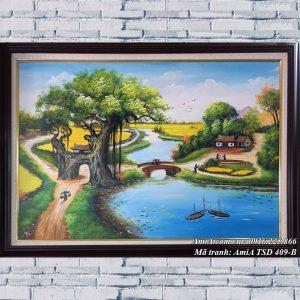 Hình ảnh tranh sơn dầu mã TSD 409B vẽ làng quê nông thôn
