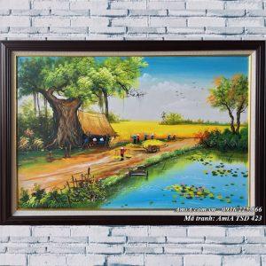 Tranh sơn dầu phong cảnh ngày mùa gặt lúa TSD 423