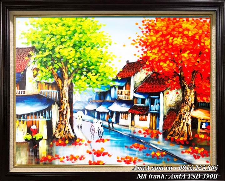 Hình ảnh tranh phố cổ mùa Thu vẽ sơn dầu khổ nhỏ TSD 390B