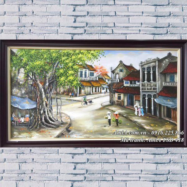 Hình ảnh tranh treo phòng khách phố cổ sơn dầu khổ lớn TSD 418