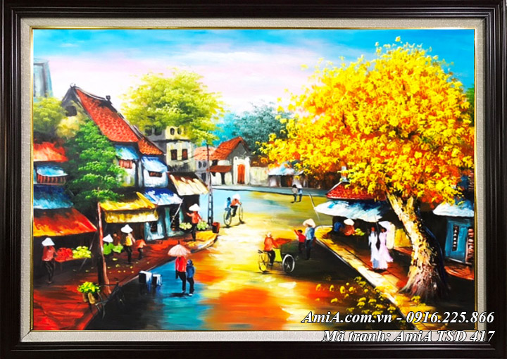 Tranh phố cổ sơn dầu hàng quán vỉa hè TSD 417