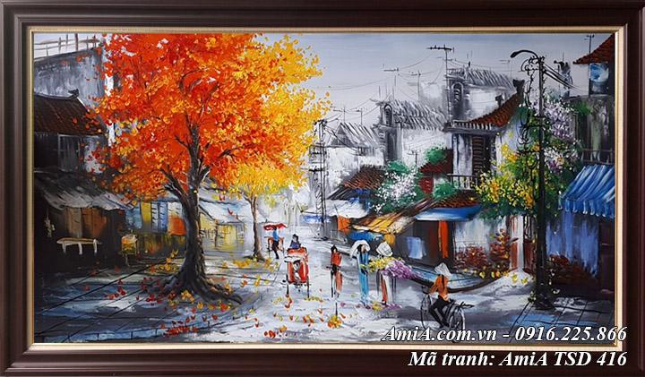 Hình ảnh khổ lớn sơn dầu mùa Thu hà nôi TSD 416