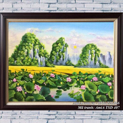 Hình ảnh tranh phong cảnh đầm Sen khổ nhỏ vẽ sơn dầu TSD 407