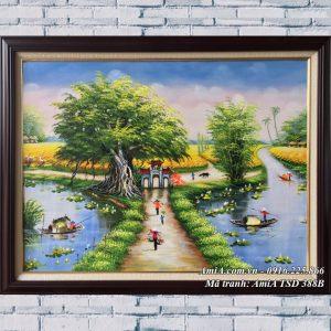Hình ảnh tranh khổ nhỏ sơn dầu phong cảnh làng quê