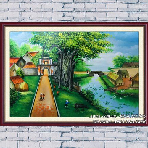 Hình ảnh tranh sơn dầu làng quê phong cảnh Việt Nam TSD 185B