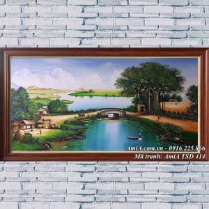 Tranh làng quê việt nam khổ lớn vẽ sơn dầu TSD 414