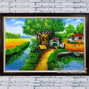 Tranh quán nước đầu làn phong cảnh sơn dầu TSD 411