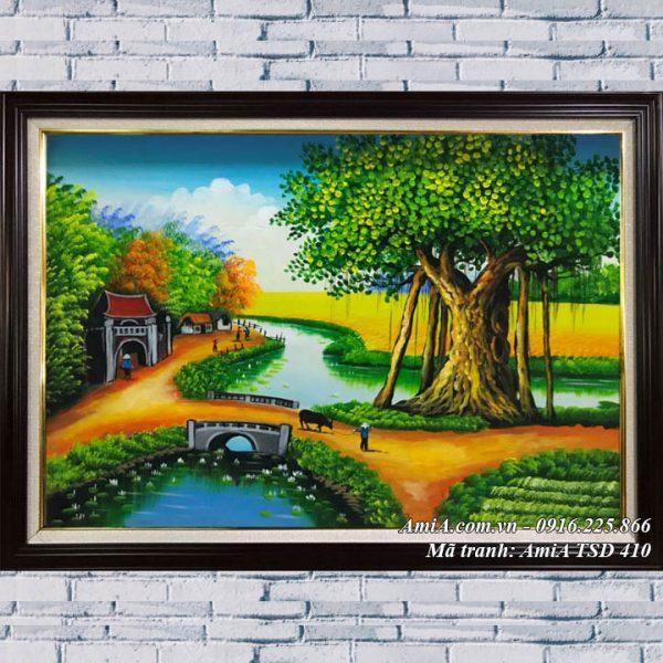 Tranh quê hương chăn trâu phong cảnh vẽ sơn dầu TSD 410