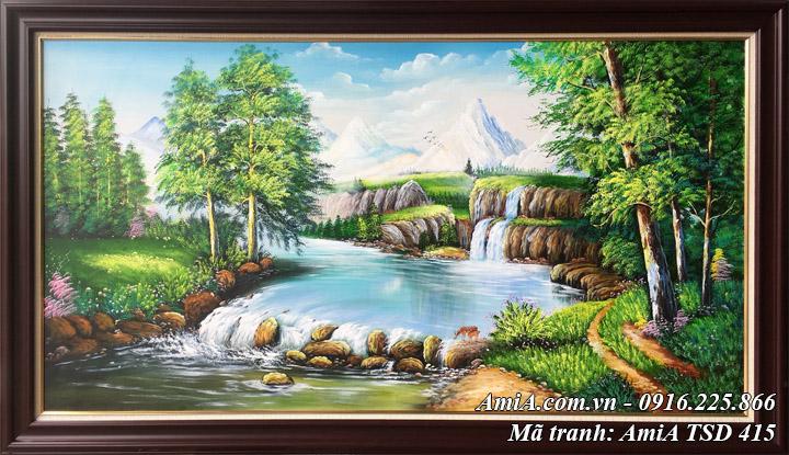 Hình ảnh tranh rừng cây suối nước TSD 415