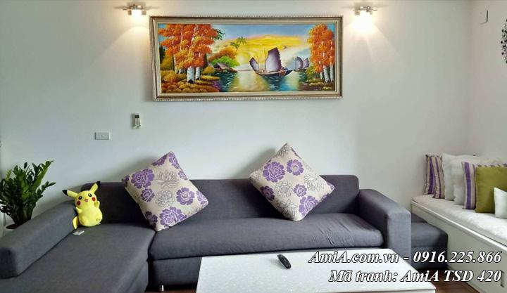 Hình ảnh tranh sơn dầu phong cảnh thuyền buồm TSD 420 ở nhà khách