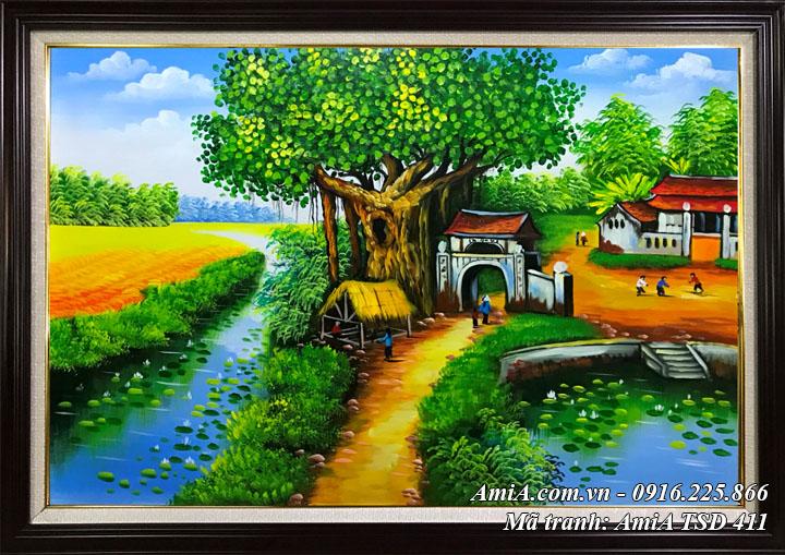 Hình ảnh tranh sơn dầu 411 quê hương quán nước đầu đình