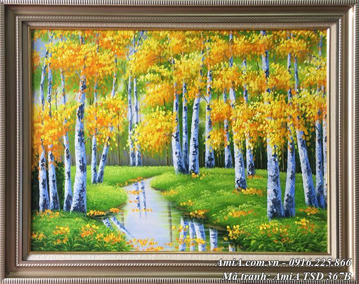 Hình ảnh tranh sơn dầu lá vàng mùa Thu rừng cây TSD 367B