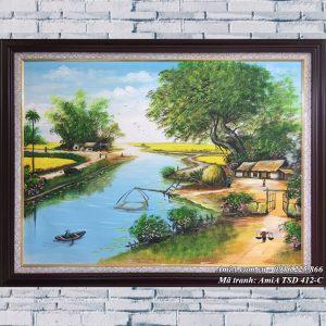 Hình ảnh tranh sơn dầu mã 412C cảnh sinh hoạt làng quê nông thôn