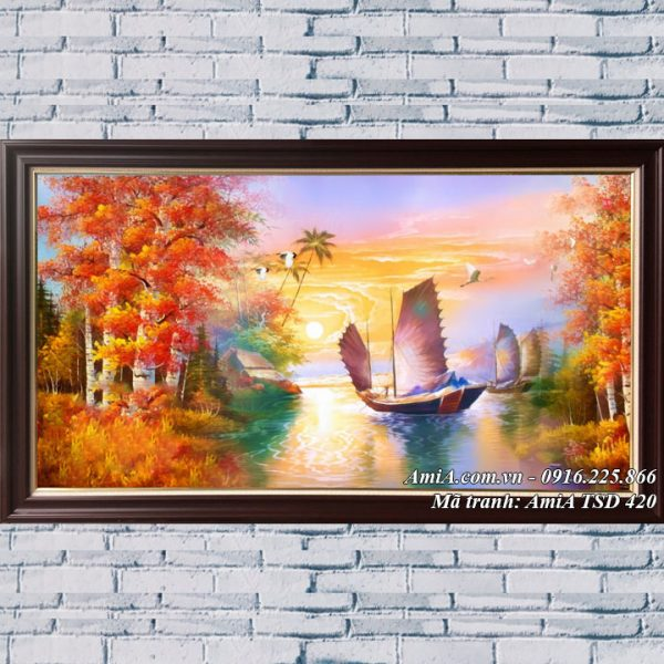 Hình ảnh tranh thuận buồm khổ lớn vẽ sơn dầu TSD 420