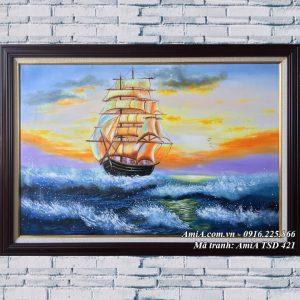 Hình ảnh tranh sơn dầu thuận buồm xuôi gió TSD 421 khổ nhỏ