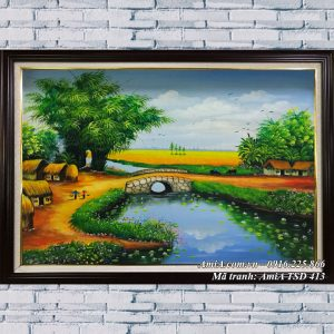 Hifnha rnht ranh sơn dầu 413 treo phòng khách nông thôn việt nam
