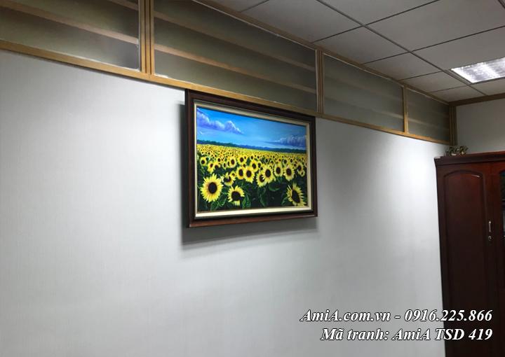 Hình ảnh tranh hoa hướng dương sơn dầu TSD 419 treo tường