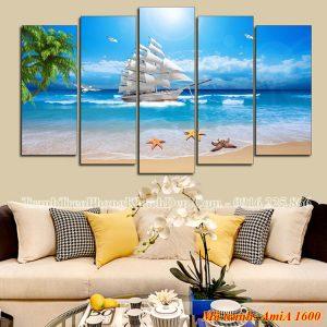 Tranh treo phòng khách đẹp AmiA 1600 phong cảnh thuyền biển