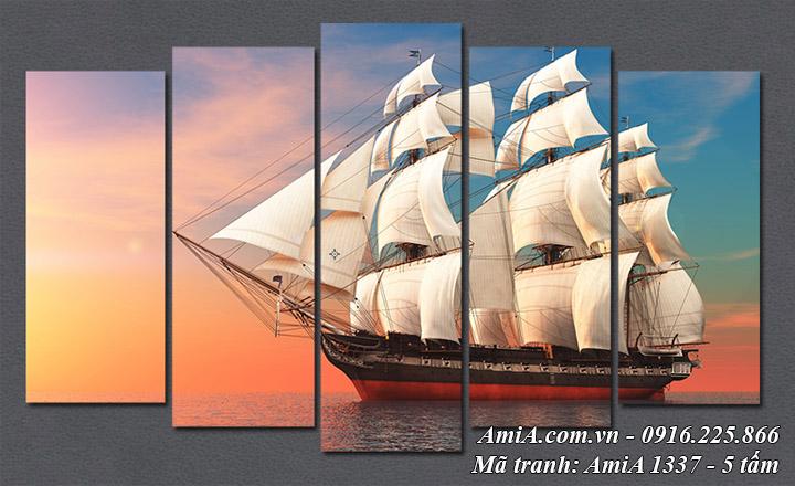 Hình ảnh tranh ghép 5 tấm thuyền buồm xuôi gió AmiA 1337