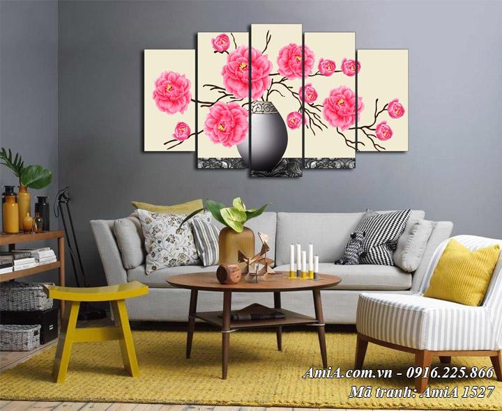 Hình ảnh tranh bình hoa hồng treo ở phòng khách AmiA 1527