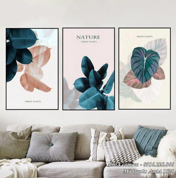 Hình ảnh tranh bộ 3 tấm lá cây trang trí phòng khách AmiA 1528