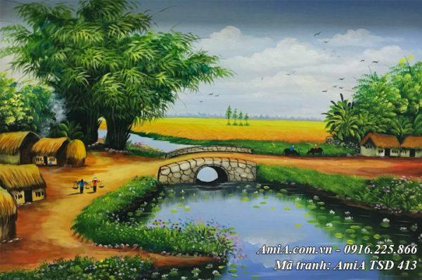 Hình ảnh tranh phong cảnh nông thôn việt nam vẽ sơn dầu tsd 413