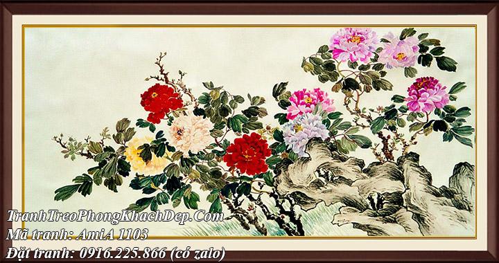 AmiA 1103 tranh hoa thủy hoa mẫu đơn 9 bông khổ lớn